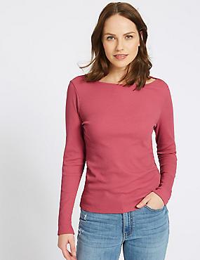 Cotton Blend Slash Neck Long Sleeve T-Shirt, RASPBERRY, catlanding