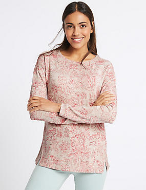 Floral Print Knitted Long Sleeve T-Shirt, PINK MIX, catlanding