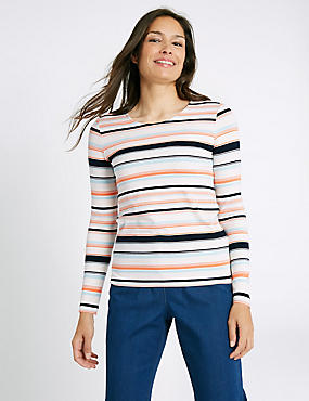 Ponte Stripe Round Neck Long Sleeve T-Shirt