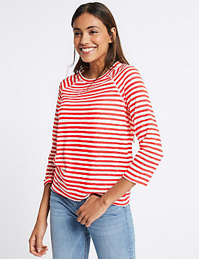 Striped Raglan Sleeve Round Neck T-Shirt