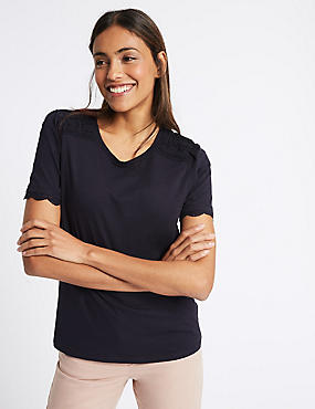 Pure Cotton Round Neck Short Sleeve T-Shirt, NAVY, catlanding