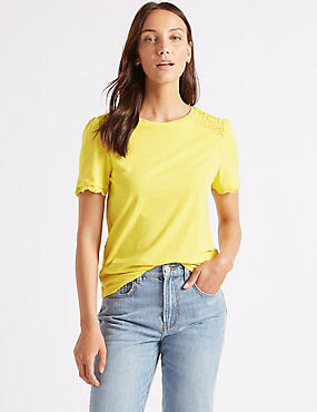 Pure Cotton Round Neck Short Sleeve T-Shirt, MIMOSA, catlanding