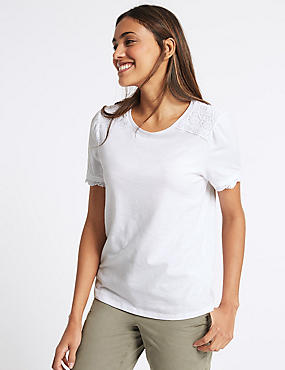 Pure Cotton Round Neck Short Sleeve T-Shirt, SOFT WHITE, catlanding