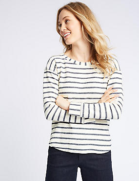 Cotton Rich Striped Long Sleeve Sweatshirt, NAVY MIX, catlanding