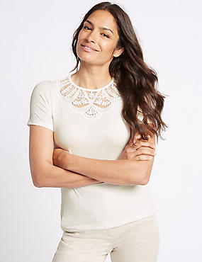 Lace Detail Round Neck Short Sleeve T-Shirt
