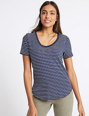Pure Cotton Striped Short Sleeve T-Shirt , NAVY MIX, catlanding