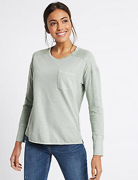 Pure Cotton Round Neck Long Sleeve T-Shirt , GREEN, catlanding
