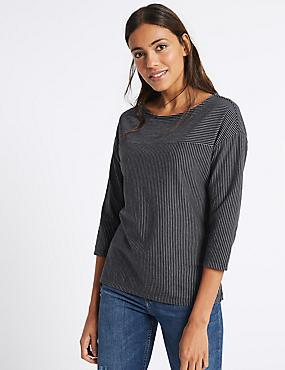 Cotton Rich Striped ¾ Sleeve T-Shirt , NAVY MIX, catlanding