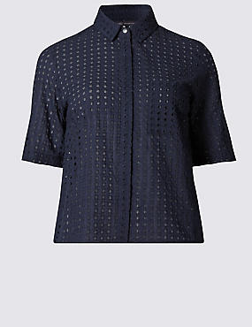 Pure Cotton Cutwork Boxy Shirt