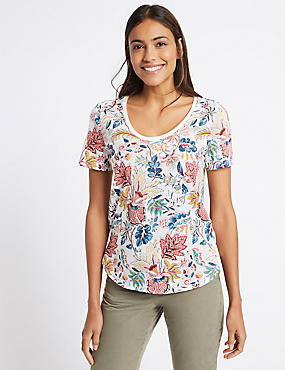 Pure Cotton Floral Print Round Neck T-Shirt
