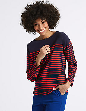 Cotton Rich Striped Long Sleeve Sweat, NAVY MIX, catlanding