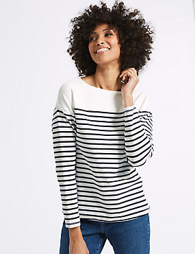 Cotton Rich Striped Long Sleeve Sweat, IVORY MIX, catlanding