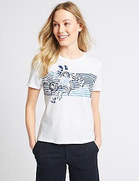 Pure Cotton Floral Print T-Shirt, IVORY MIX, catlanding