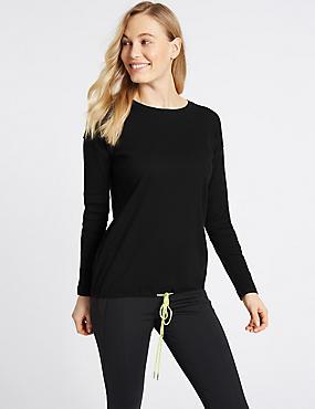 Ribbed Tie Front Long Sleeve T-Shirt, BLACK, catlanding
