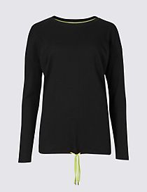 Ribbed Tie Front Long Sleeve T-Shirt