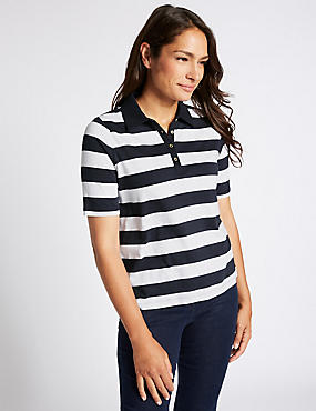 Pure Cotton Striped Polo T-Shirt