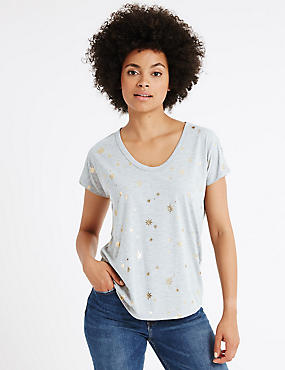 Foil Star Print Short Sleeve T-Shirt
