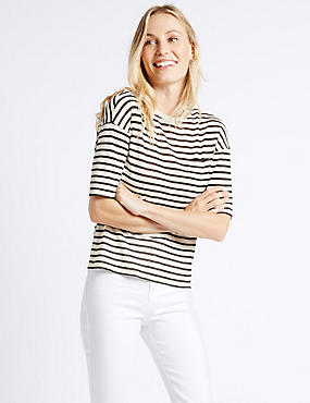 Textured Stripe Half Sleeve T-shirt