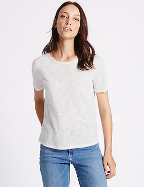 Cotton Blend Burnout Print T-Shirt
