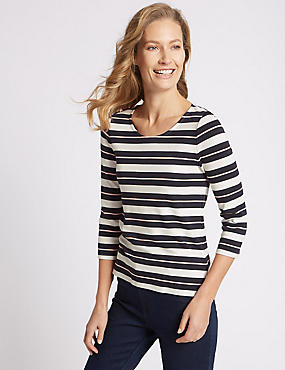 Contrast Stripe Round Neck ¾ Sleeve T-Shirt