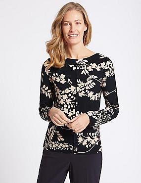 Floral Print Warm Handle Long Sleeve T-Shirt, NAVY MIX, catlanding