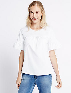 Pure Cotton Shirred Flare Sleeve T-Shirt