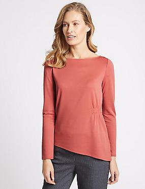 Modal Rich Asymmetric Long Sleeve T-Shirt, PINK, catlanding