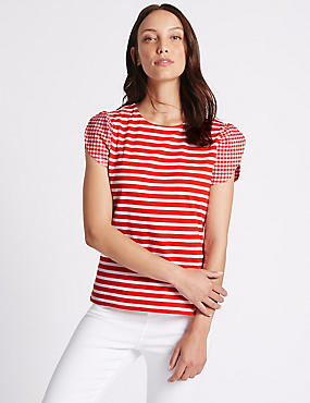 Pure Cotton Striped Gingham Sleeve T-Shirt