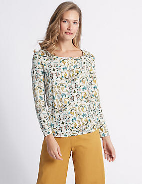Floral Print Twisted Neck T-Shirt, IVORY MIX, catlanding