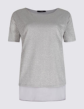 Round Neck Short Sleeve T-Shirt, CHARCOAL, catlanding
