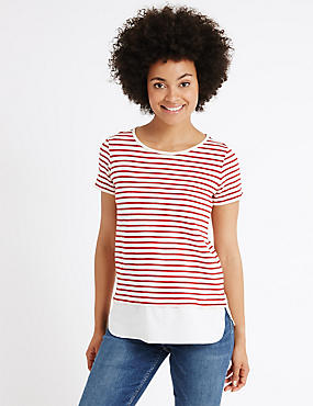 Pure Cotton Textured Stripe T-Shirt