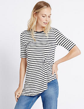 Striped Twist Front Tunic