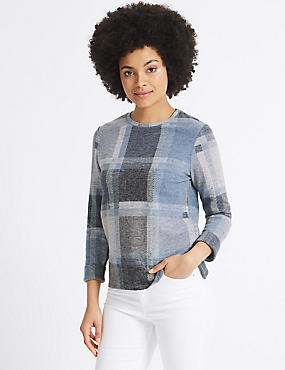 Checked Round Neck ¾ Sleeve Sweatshirt, MULTI, catlanding