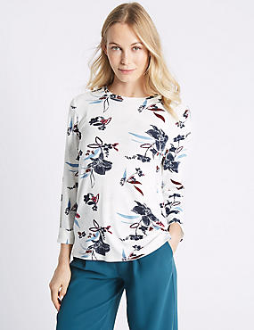 Floral Print Long Sleeve Sweatshirt, IVORY MIX, catlanding