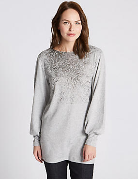 Brushed Foil Print Slash Neck Tunic