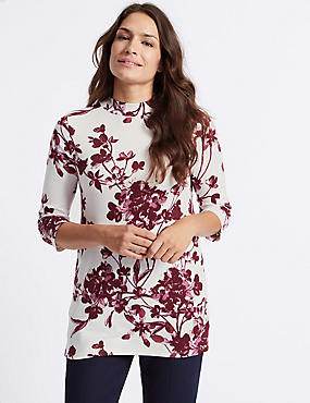 Floral Print Funnel Neck 3/4 Sleeve Tunic