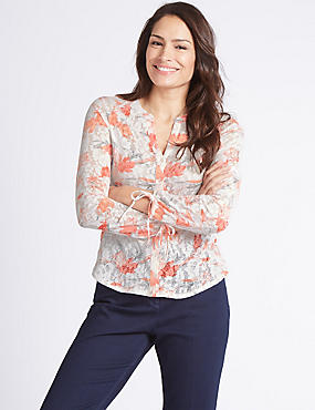 Cotton Rich Floral Print Long Sleeve Shirt