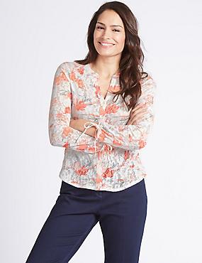 Cotton Rich Floral Print Long Sleeve Shirt , IVORY MIX, catlanding