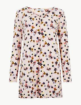 Floral Print Long Sleeve Tunic , PINK MIX, catlanding