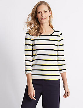Striped Round Neck 3/4 Sleeve Top, IVORY MIX, catlanding