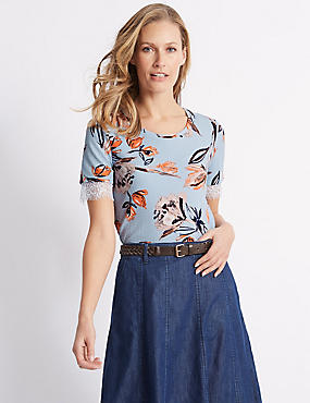 Floral Print Lace Cuff Textured Top, NAVY MIX, catlanding