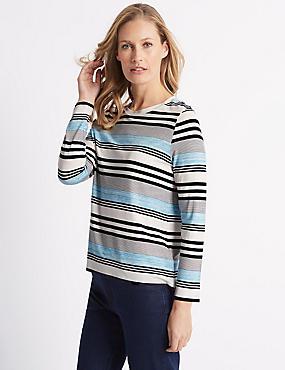 Striped Round Neck Long Sleeve T-Shirt, BLUE MIX, catlanding