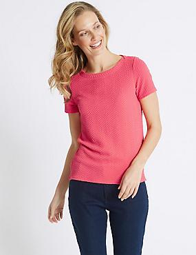 Ripple Textured Short Sleeve T-Shirt, PINK, catlanding