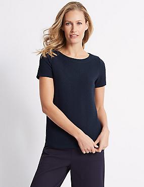 Ripple Textured Short Sleeve T-Shirt, NAVY MIX, catlanding