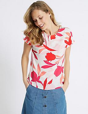 Floral Print Round Neck Short Sleeve Top, PINK MIX, catlanding