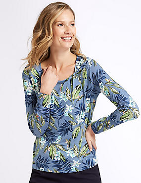 Floral Print Twisted Neck Long Sleeve Top, BLUE MIX, catlanding