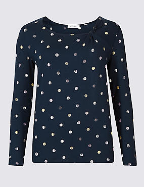 Spotted Twisted Neck Long Sleeve Top , BLUE MIX, catlanding
