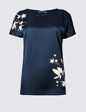 Floral Print Slash Neck Short Sleeve Top, NAVY MIX, catlanding