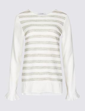 Striped Round Neck Long Sleeve Tunic, IVORY MIX, catlanding