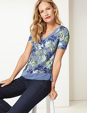 Floral Print V-Neck Short Sleeve Top , BLUE MIX, catlanding
